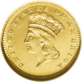 Gold Dollars: , 1866 G$1 MS67 ★ Prooflike NGC. Glowing white-gold devices riseabove the seamless mirrored fi...