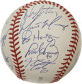 Autographs:Baseballs, 2000 St. Louis Cardinals Team Signed Baseball. The NL Champs of the2000 season are represented with this high-quality OML ...
