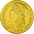 Early Quarter Eagles: , 1808 $2 1/2 VF30--Cleaned--ANACS. Bass-3017, Breen-6125, R.4. Oneof the rarest of all U.S. type coins, the 1808 quarter ea...