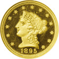 Proof Liberty Quarter Eagles: , 1895 $2 1/2 PR66 ★ Ultra Cameo NGC. B-1. Awarded NGC's coveted andseldom-seen Star designati...