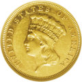 Three Dollar Gold Pieces: , 1877 $3 AU55 NGC. Gold coins did not circulate on the East Coast in1877, although that situation would change in a couple ...