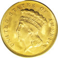 Three Dollar Gold Pieces: , 1878 $3 MS64 PCGS. The appealing golden surfaces display the usual(almost diagnostic) swirling mint luster, with a slight ...