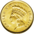 Three Dollar Gold Pieces: , 1887 $3 MS65 PCGS. All business strike 1887 three dollar goldpieces were struck from a doubled obverse die, with the doubl...