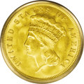 Three Dollar Gold Pieces: , 1888 $3 MS64 PCGS. Stunning apricot-gold surfaces are incrediblyfrosty, lustrous, and appealing, with tinges of hazel near...