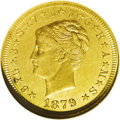 Proof Four Dollar Gold Pieces: , 1879 $4 Coiled Hair, Judd-1638, Pollock-1838, R.6, PR63 NGC.Richmond Collection. The background of the stella is rooted in...