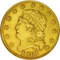 Early Half Eagles: , 1818 $5 MS60 NGC. Breen-6471, B. 1-A, Miller-123, R.5. The halfeagles of 1818 were created from three dies each for the ob...