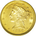 Liberty Half Eagles: , 1856-C $5 MS63 PCGS. Variety 24-J. Although the 1856-C for many years was regarded as a common issue, in reality it is deci...