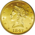 Liberty Eagles: , 1847 $10 MS62 PCGS. This honey-gold type coin is well struck, bothin the centers and on the stars. Luster is extensive, an...