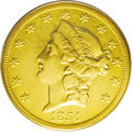 Liberty Double Eagles: , 1854-O $20 AU50 PCGS. The New Orleans Mint began producing doubleeagles right from the start, with 141,000 coins struck in...