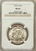 Walking Liberty Half Dollars: , 1945-D 50C MS66 NGC. NGC Census: (2079/200). PCGS Population(1937/150). Mintage: 9,966,800. Numismedia Wsl. Price for prob...