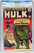 Silver Age (1956-1969):Superhero, The Incredible Hulk #6 (Marvel, 1963) CGC VG- 3.5 Cream tooff-white pages....