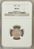 Seated Dimes: , 1891 10C MS63 NGC. NGC Census: (161/480). PCGS Population(178/400). Mintage: 15,310,600. Numismedia Wsl. Price forproblem...