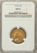Indian Half Eagles: , 1915-S $5 AU55 NGC. NGC Census: (260/687). PCGS Population(106/393). Mintage: 164,000. Numismedia Wsl. Price for problem f...