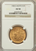 Indian Eagles: , 1908-D $10 Motto AU58 NGC. NGC Census: (206/401). PCGS Population(148/415). Mintage: 836,500. Numismedia Wsl. Price for pr...