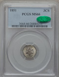 Three Cent Silver, 1851 3CS MS66 PCGS. CAC....