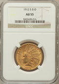 Indian Eagles: , 1912-S $10 AU55 NGC. NGC Census: (188/660). PCGS Population(156/536). Mintage: 300,000. Numismedia Wsl. Price for problem ...