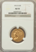 Indian Half Eagles: , 1913-S $5 AU55 NGC. NGC Census: (366/1021). PCGS Population(171/483). Mintage: 408,000. Numismedia Wsl. Price for problem ...