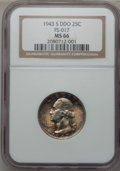 Washington Quarters, 1943-S 25C Doubled Die Obverse MS66 NGC. FS-101....