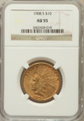 Indian Eagles: , 1908-S $10 AU55 NGC. NGC Census: (139/352). PCGS Population(97/331). Mintage: 59,850. Numismedia Wsl. Price for problem fr...
