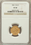 Liberty Quarter Eagles: , 1861-S $2 1/2 VF30 NGC. NGC Census: (2/81). PCGS Population (3/54).Mintage: 24,000. Numismedia Wsl. Price for problem free...