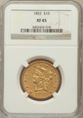 Liberty Eagles: , 1852 $10 XF45 NGC. NGC Census: (84/462). PCGS Population (76/127).Mintage: 263,106. Numismedia Wsl. Price for problem free...