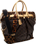 Luxury Accessories:Travel/Trunks, Louis Vuitton by Stephen Sprouse Classic Monogram Canvas, Gold Lizard & Leopard Pony Hair Steamer Bag with Tortoise Link Shoul...