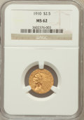 Indian Quarter Eagles: , 1910 $2 1/2 MS62 NGC. NGC Census: (2725/2280). PCGS Population(999/1172). Mintage: 492,000. Numismedia Wsl. Price for prob...