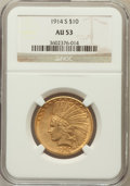 Indian Eagles: , 1914-S $10 AU53 NGC. NGC Census: (26/873). PCGS Population(35/724). Mintage: 208,000. Numismedia Wsl. Price for problem fr...