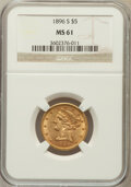 Liberty Half Eagles: , 1896-S $5 MS61 NGC. NGC Census: (35/23). PCGS Population (13/34).Mintage: 155,400. Numismedia Wsl. Price for problem free ...
