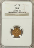 Gold Dollars: , 1855 G$1 VF30 NGC. NGC Census: (11/5163). PCGS Population(18/3329). Mintage: 758,269. Numismedia Wsl. Price for problemfr...