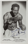 Boxing Collectibles:Autographs, 1950's Ezzard Charles Signed Photo Postcard....