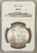 Morgan Dollars: , 1881-CC $1 MS64 NGC. NGC Census: (3331/3030). PCGS Population(6993/5838). Mintage: 296,000. Numismedia Wsl. Price for prob...