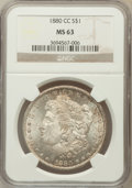 Morgan Dollars, 1880-CC $1 MS63 NGC. NGC Census: (2124/4828). PCGS Population(3066/7438). Mintage: 591,000. Numismedia Wsl. Price for prob...