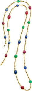 Estate Jewelry:Necklaces, Ruby, Sapphire, Emerald, Gold Necklace, David Webb. ...