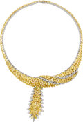 Estate Jewelry:Necklaces, Colored Diamond, Diamond, White Gold Necklace. ...