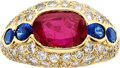Estate Jewelry:Rings, Burmese Ruby, Sapphire, Diamond, Gold Ring, Bvlgari. ...