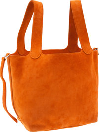 Hermes Orange H Veau Doblis Picotin PM Tote Bag