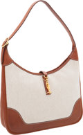 Luxury Accessories:Bags, Hermes 31cm Natural Barenia Leather & Toile Trim Bag with GoldHardware. ...