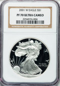 Modern Bullion Coins: , 2001-W $1 Silver Eagle PR70 Ultra Cameo NGC. NGC Census: (3503).PCGS Population (1011). Numismedia Wsl. Price for problem...