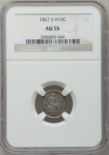 Seated Half Dimes: , 1867-S H10C AU55 NGC. NGC Census: (5/41). PCGS Population (7/36).Mintage: 120,000. Numismedia Wsl. Price for problem free ...