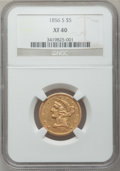 Liberty Half Eagles: , 1856-S $5 XF40 NGC. NGC Census: (17/94). PCGS Population (14/84).Mintage: 105,100. Numismedia Wsl. Price for problem free ...