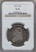 Bust Half Dollars: , 1822 50C VF35 NGC. NGC Census: (19/688). PCGS Population (43/659).Mintage: 1,559,573. Numismedia Wsl. Price for problem fr...