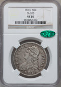 Bust Half Dollars: , 1813 50C VF30 NGC. CAC. O-103. NGC Census: (29/672). PCGSPopulation (49/504). Mintage: 1,241,903. Numismedia Wsl. Price f...