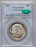 Commemorative Silver: , 1936 50C Long Island MS64 PCGS. CAC. PCGS Population (2264/1656).NGC Census: (1825/1544). Mintage: 81,826. Numismedia Wsl....