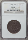 Reeded Edge Half Dollars: , 1838 50C XF45 NGC. NGC Census: (74/745). PCGS Population (160/645).Mintage: 3,546,000. Numismedia Wsl. Price for problem f...