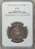 Seated Half Dollars: , 1853 50C Arrows and Rays XF45 NGC. NGC Census: (116/778). PCGSPopulation (165/704). Mintage: 3,532,708. Numismedia Wsl. Pr...