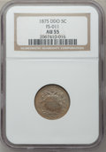 Shield Nickels: , 1875 5C AU55 NGC. FS-011. NGC Census: (2/132). PCGS Population(9/167). Mintage: 2,097,000. Numismedia Wsl. Price for prob...