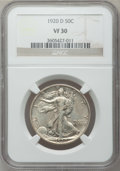 Walking Liberty Half Dollars: , 1920-D 50C VF30 NGC. NGC Census: (15/222). PCGS Population(27/342). Mintage: 1,551,000. Numismedia Wsl. Price for problem ...