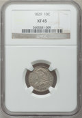 Bust Dimes: , 1829 10C Small 10C XF45 NGC. NGC Census: (8/230). PCGS Population(25/187). Mintage: 770,000. Numismedia Wsl. Price for pro...