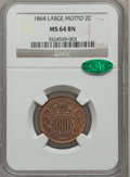 Two Cent Pieces: , 1864 2C Large Motto MS64 Brown NGC. CAC. NGC Census: (444/270).PCGS Population (276/53). Mintage: 19,847,500. Numismedia W...